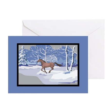 Scenic Winter Mustang Christmas Greeting Cards (Pk