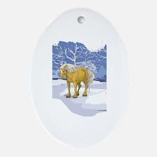 Scenic Winter Belgian Christmas Oval Ornament