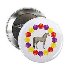 "Christmas Wreath Arabian Horse 2.25"" Button"