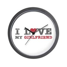 I Love (heart) My Girlfriend Wall Clock