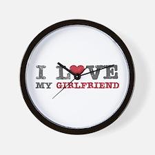 I Love (heart) My Girlfriend Wall Clock