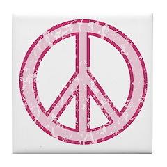 Pink Peace Sign Tile Coaster
