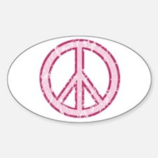 Pink Peace Sign Oval Decal