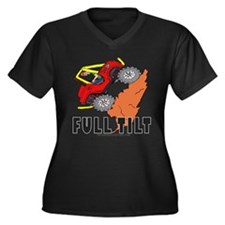 FULL TILT Women's Plus Size V-Neck Dark T-Shirt