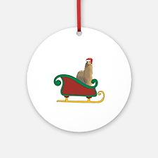 Santa's Sleigh Alpaca Ornament (Round)
