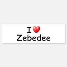 I Love Zebedee (Black) Bumper Bumper Bumper Sticker