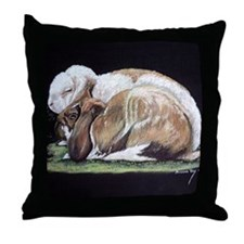 French Lop Rabbits Throw Pillow