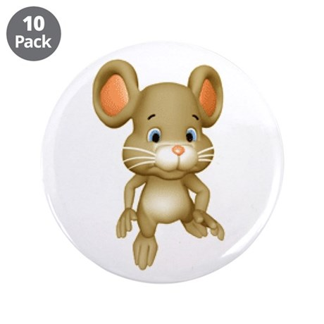 """Quiet Brown Mouse 3.5"""" Button (10 pack)"""
