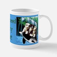 Australian Shepherd Pups At Beach - Mug