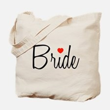 Bride (Black Script With Heart) Tote Bag