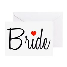 Bride (Black Script With Heart) Greeting Cards (Pk