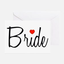Bride (Black Script With Heart) Greeting Card