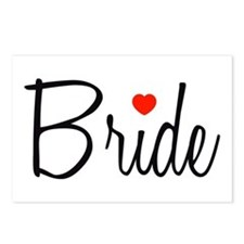Bride (Black Script With Heart) Postcards (Package