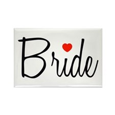 Bride (Black Script With Heart) Rectangle Magnet