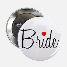 """Bride (Black Script With Heart) 2.25"""" Button (10 p"""