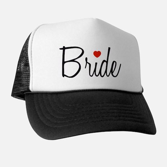 Bride (Black Script With Heart) Hat
