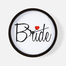Bride (Black Script With Heart) Wall Clock