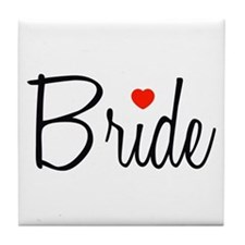 Bride (Black Script With Heart) Tile Coaster