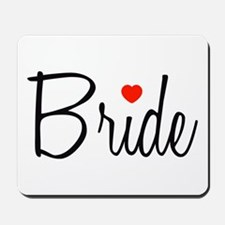 Bride (Black Script With Heart) Mousepad