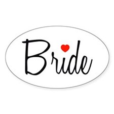 Bride (Black Script With Heart) Oval Decal