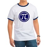 Pi Ringer T-Shirt - Pi is all about circles. You'll look great in this navy trimmed Pi shirt. - Availble Sizes:Small,Medium,Large,X-Large,2X-Large (+$3.00) - Availble Colors: Black/White,Red/White,Navy/White