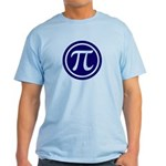 Light Color Pi Emblem T-Shirt - Pi in a circle on your shirt. - Availble Sizes:Small,Medium,Large,X-Large,2X-Large (+$3.00),3X-Large (+$3.00) - Availble Colors: Natural,Ash Grey,Light Blue