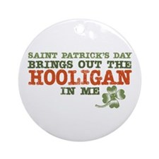 St Patrick's Day Hooligan Ornament (Round)