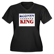 RODNEY for king Women's Plus Size V-Neck Dark T-Sh