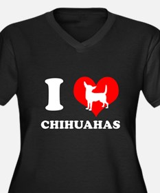 I love chihuahuas Women's Plus Size V-Neck Dark T-