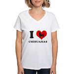 I love chihuahuas Women's V-Neck T-Shirt