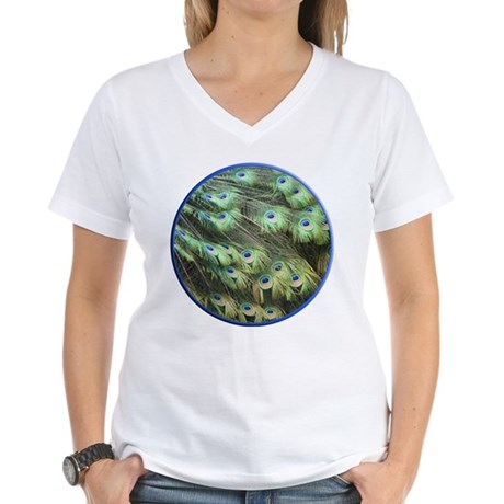 Helaine's Peacock Feathers Women's V-Neck T-Shirt