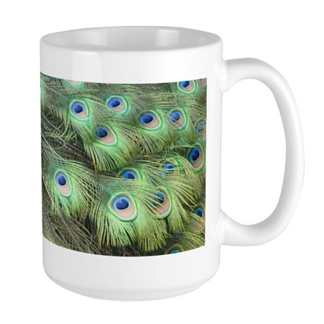 Helaine's Peacock Feathers Large Mug