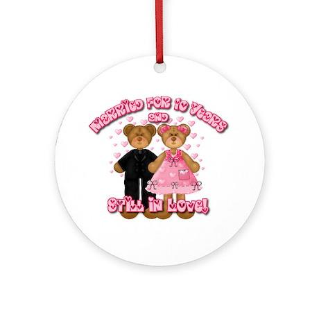 10th Anniversay Teddy Bears Ornament (Round)