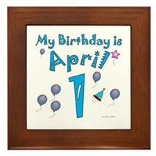 April 1st Birthday Framed Tile