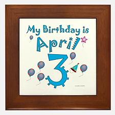 April 3rd Birthday Framed Tile
