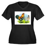 Ameraucana Chickens Women's Plus Size V-Neck Dark