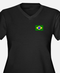 Cute Irish brazilian Women's Plus Size V-Neck Dark T-Shirt