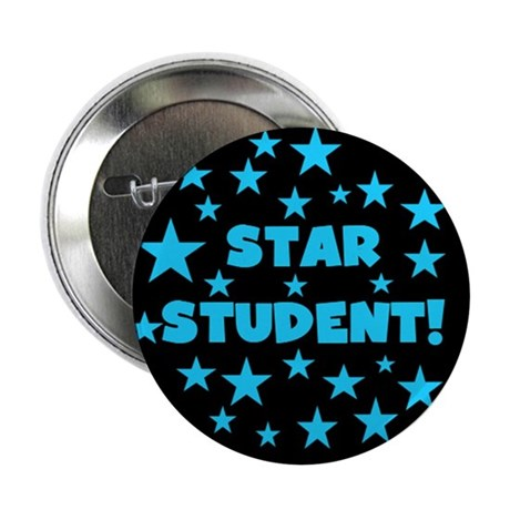 "Star Student (Black, Blue) 2.25"" Button"