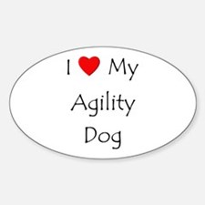 I Love My Agility Dog Sticker (Oval)