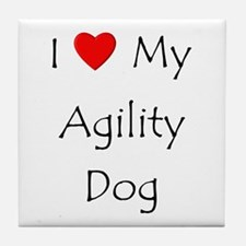 I Love My Agility Dog Tile Coaster