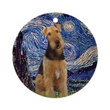 Starry Night & Airedale #6 Ornament (Round)