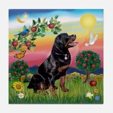 Bright Country with Rottweiler Tile Coaster