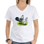 Ameraucana Rooster and Hen Women's V-Neck T-Shirt