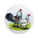 Ameraucana Rooster and Hen Ornament (Round)