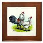 Ameraucana Rooster and Hen Framed Tile
