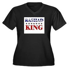RASHAD for king Women's Plus Size V-Neck Dark T-Sh