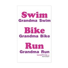 Triathlon Grandma Rectangle Decal