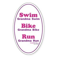 Triathlon Grandma Oval Decal