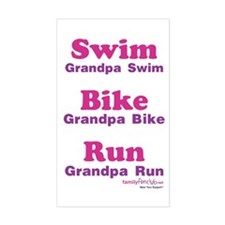 Triathlon Grandpa Rectangle Decal