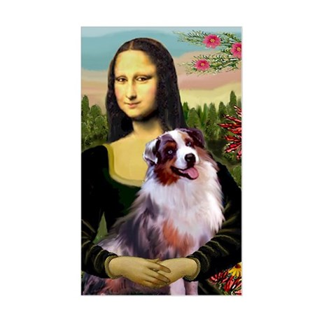 Mona Lisa and Australian Shepherd Sticker (Rectan